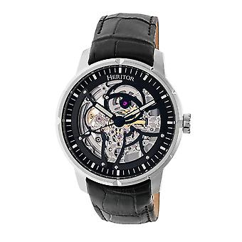 Heritor Automatic Ryder Skeleton Leather-Band Watch - Black