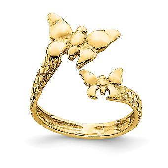 14k Polonês e Texturizado Butterfly Angel Wings Toe Ring Joias para Mulheres - 1,5 Gramas