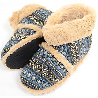 メンズ ニット スタイル靴ブーツのどの温かみのあるブーティ ファーのライニングとカフ - ブラック - 小 (UK7/UK8)