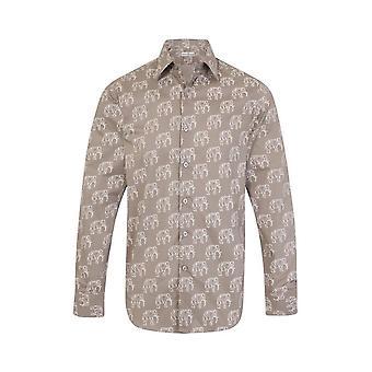 JSS Grey Elephant Print Regular Fit Shirt