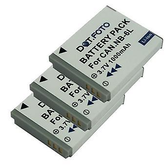 3 x Dot.Foto NB-6L, batteria ricaricabile di sostituzione NB-6LH PREMIUM per Canon - 3.7v / 1000mAh [Vedere descrizione per compatibilità]