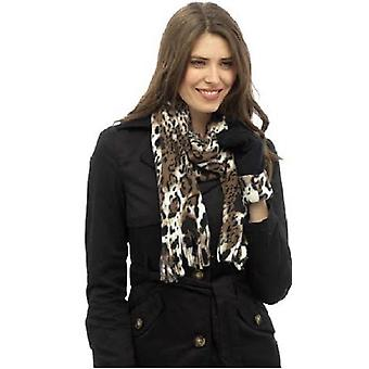 Ladies Leopard Print Scarf and Glove set