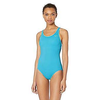 Nike Swim Women's Solid Powerback One Piece Swimsuit, Furia Azul Claro, X-Small