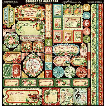 """Graphic 45 Deluxe Collector's Edition Pack 12""""X12"""" - 12 Days Of Christmas"""