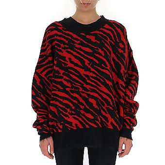 Unravel Uwhe006f19kni0012010 Women's Black/red Cotton Sweater