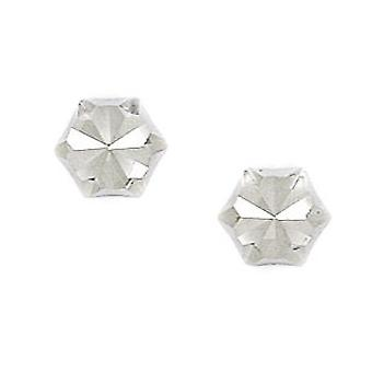 14k White Gold Large Hexagonal Shape Screw back Earrings Measures 7x8mm Jewelry Gifts for Women