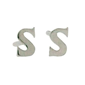TOC Girls Sterling Silver Small Initial 'S' Stud Earrings