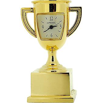 Miniature Goldtone Metal Trophy Winners Cup Novelty Collectors Clock IMP1049