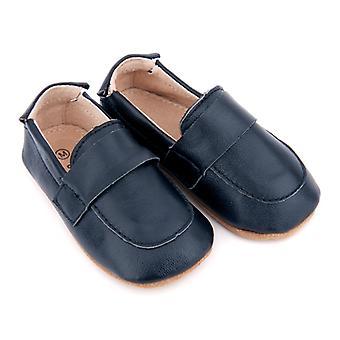 SKEANIE Leather Pre-Walker Loafers Shoes in Navy