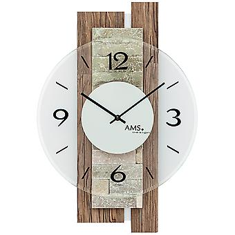 AMS 9543 wall clock quartz analog colors with natural stone modern Walnut wood Edition