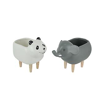 Set of 2 Elephant and Panda Dolomite Ceramic Planters With Wooden Legs