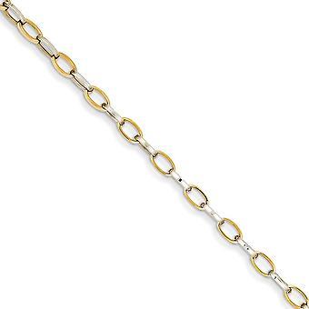 14k Two Tone Fancy Lobster Closure Gold Polished Open Link Bracelet Jewelry Gifts for Women