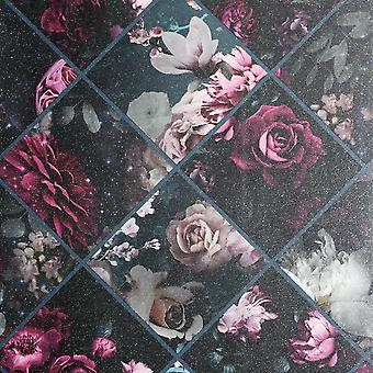 Floral Collage Wallpaper Plum / Teal Arthouse 297100