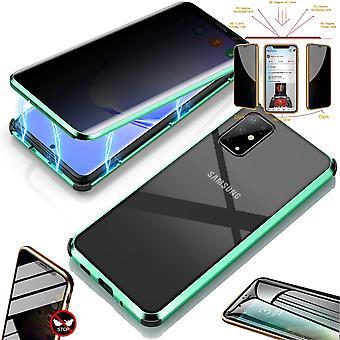 Dobbeltsidet 360 Graders magnet / glas privatliv spejl sag sag telefon sag kofanger grøn til Samsung Galaxy S20 G980F