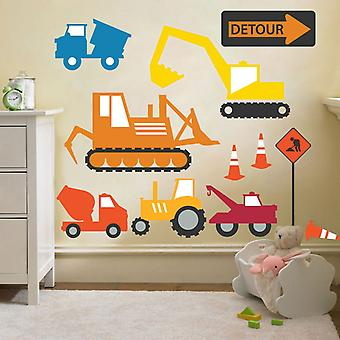 Ready Steady Bed Construction Diggers & Trucks Removable and Repositionable Wall Stickers D�cor Decal Art