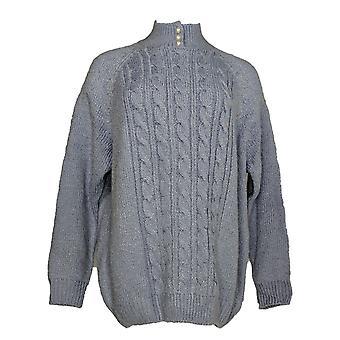 Karen Scott Women's Plus Sweater Long Sleeve Mock Neck Purple