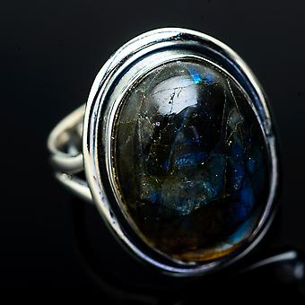 Labradorite Ring Size 6 (925 Sterling Silver)  - Handmade Boho Vintage Jewelry RING12001