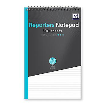 Reporters Ruled White Paper Writing Notepad Twinwire 100 Sheets