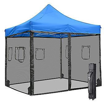 Instahibit 10x10 ft Pop Up Canopy Tent & 4 Mesh Sidewalls Commercial Ez up Canopy Sunshade Instant Shelter Market