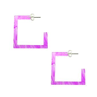 Amethyst UV Square Ear Hoop