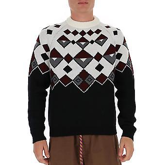 Prada Umb147fn1f0009 Männer's weiße Wolle Pullover