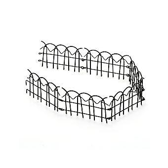 Jardin miniature de fées 6.4cm Grande clôture en métal noir pour l'artisanat - 61cm de long