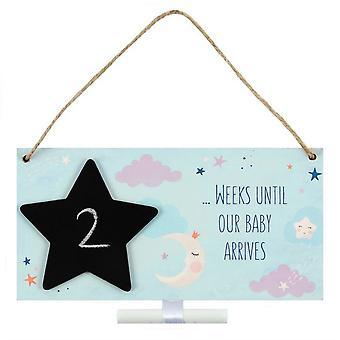 Placa de contagem regressiva de chegada de bebê diferente