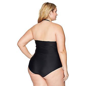 Coastal Blue Women's Plus Size One Piece Swimsuit, Ebony, 1X (16W-18W)