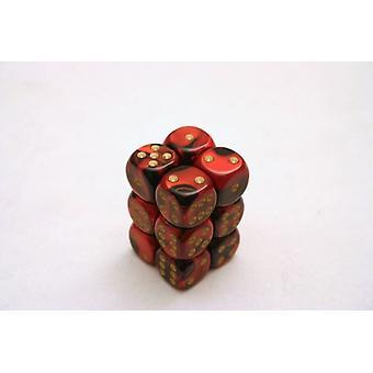 Chessex Gemini 16mm D6 x 12 - Black-Red/gold