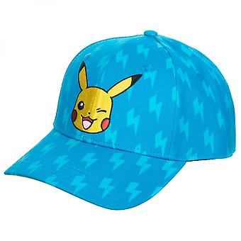 Pokemon Pikachu Lightning Bolt All Over Print Adjustable Snapback Hat