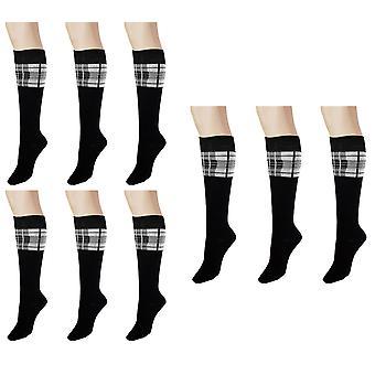 Naisten & apos;s Joulu Tartan & Plain Knee High Sukat 4-6 UK