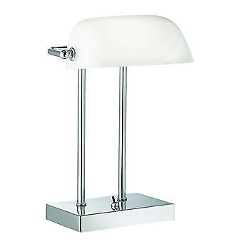 Searchlight Bankers - 1 lys justerbar banker bordlampe krom hvit glass skygge, E14