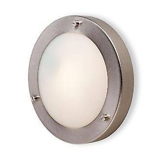 1 Light Wall / Flush Ceiling Light Brushed Steel, Opal Glass IP54, G9