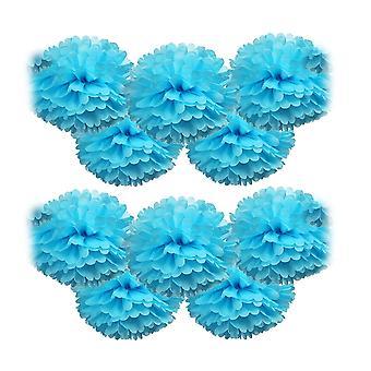 10PCS Pom-poms Flower Ball Wedding Party Decoratie 30cm Blauw