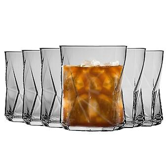 Bormioli Rocco Cassiopea Geometric Double Old Fashioned Tumbler Glasses Set - 410ml - Pack of 6
