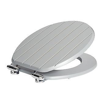 Soft Close toiletbril - houten met chromen scharnieren - Gegroefd grijs