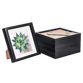 Nicola Spring 5 Piece 8 x 8 3D Shadow Box Photo Frame Set - Craft Display Picture Frame - Szklana przysłona - Czarna