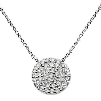 Dew Sterling Silver Cubic Zirconia Large Disc 18 Necklace 9875CZ020