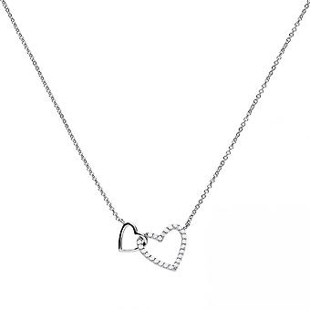 Diamonfire Silver White Zirconia Two Hearts Necklace N4249