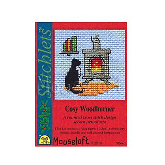 Cosy Woodburner - Stitchlets Small Christmas Counted Cross Stitch Card Making Kit