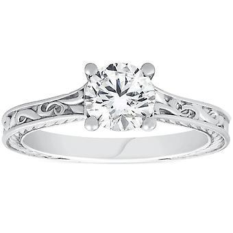 1ct Solitaire Round Cut Vintage Diamond Engagement Ring 14k Wit Goud
