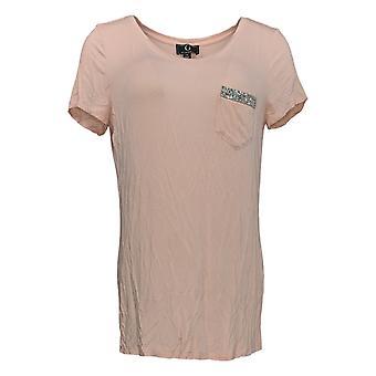 G by Giuliana Women's Top XS Short Sleeve Beaded Pocket Tee Pink 692-492