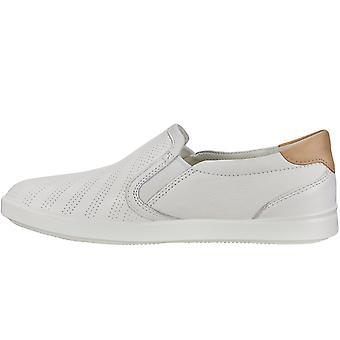 Ecco Womens Gillian Slip On Leather Casual Loafers Shoes - White