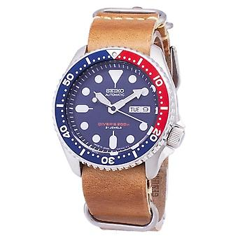 Seiko Automatico Skx009j1-ls18 Diver's 200m Japan Made Brown Leather Strap Men's Orologio