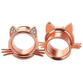 الأذن المقابس القط تصميم مع جولة واضحة مكعب zirconia مزدوجة أنفاق الأذن مضيئة 2g