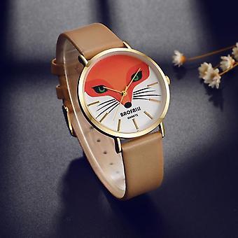 BAOSAILI BS1009 Fox Animal W wrist Watch Véritable Montre à sangle en cuir Quartz Montre