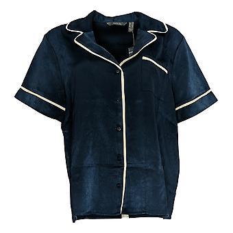 Enhver Kvinder's Pyjamas Top Piped Satin Kort ærme Blå A353764