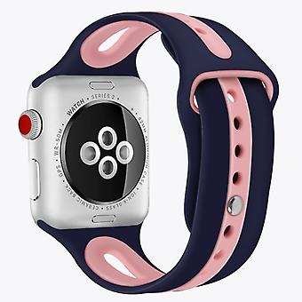 For Apple Watch Series 5 & 4 44mm / 3 & 2 & 1 42mm Two-tone Silicone Open Watchband(Blue+Pink)