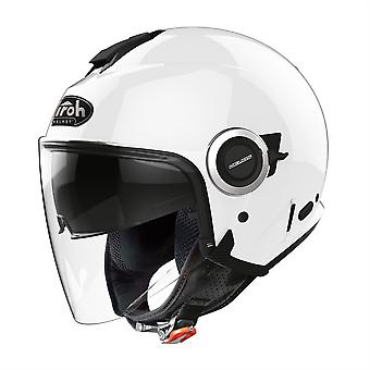 Airoh Helios Jet Color Open Face Motorcycle Helmet Hi-Vis Reflective White