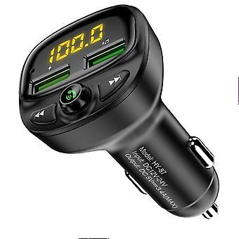 الهاتف بلوتوث اللاسلكية FM الارسال MP3 لاعب شاحن USB المزدوج (أسود)